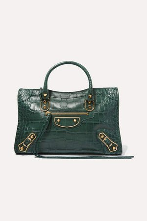 Classic City Small Croc-effect Leather Tote - Army green