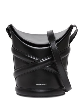 Alexander McQueen The Curve Crossbody Bag In Black Leather