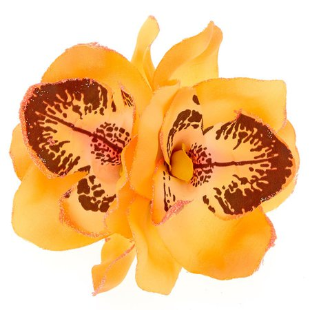 Large Orchid Flower Hair Clip - Orange | Claire's US