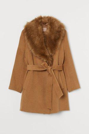 H&M+ Faux Fur-collared Coat - Beige