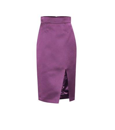 silk midi lila skirt