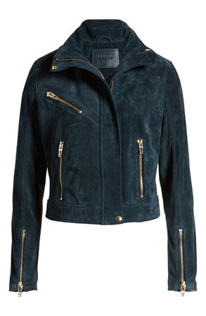 BLANKNYC Suede Moto Jacket blue