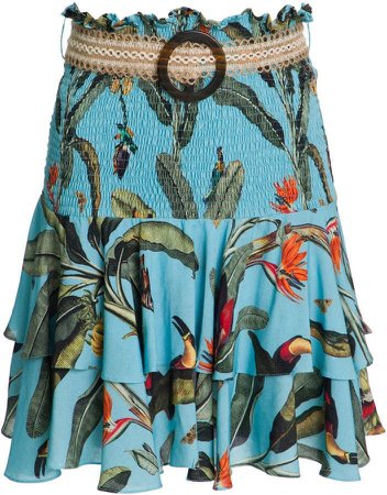 PatBO Tropical Print Smocked Mini Skirt