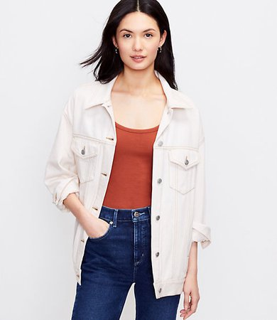 Denim Trucker Jacket in Natural White