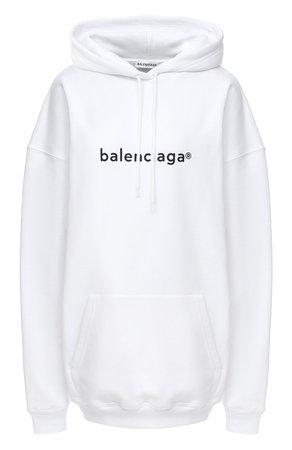 Женский белый хлопковое худи BALENCIAGA — купить за 51300 руб. в интернет-магазине ЦУМ, арт. 578135/TIV55
