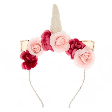 Rose Gold Unicorn Flower Crown Headband | Claire's US