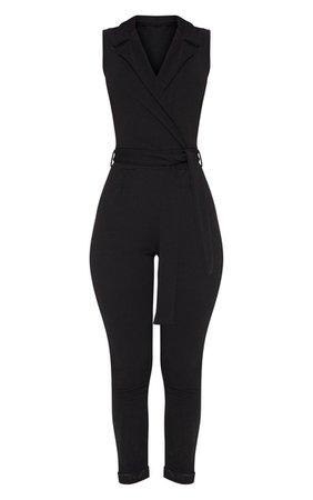 Black Collar Sleeveless Jumpsuit   PrettyLittleThing USA