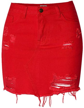 D-Sun Women's Casual High Waist Red Distressed Ripped Bodycon A-Line Denim Short Skirt (Red, XS) at Amazon Women's Clothing store