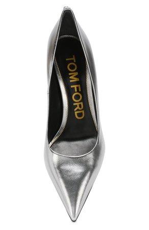 Женские серебряные туфли из металлизированной кожи TOM FORD — купить за 49950 руб. в интернет-магазине ЦУМ, арт. W2326T-LSH