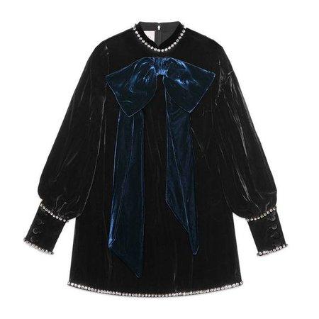 GUCCI Swarovski Crystal-Embellished Embossed Velvet Top in Blue