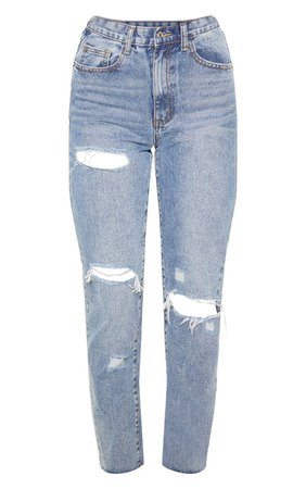 Mid Wash Straight Leg Jeans | Denim | PrettyLittleThing USA