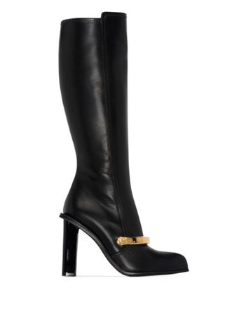 Alexander McQueen Embellished Leather Knee Boots - Farfetch