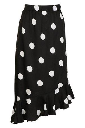 Oversized Polka Dot Ruffle Hem Skirt | Boohoo UK