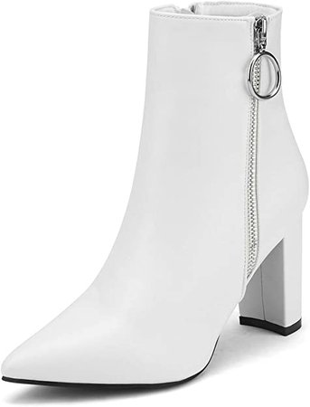 Amazon.com | DREAM PAIRS Women's White Pu Chunky High Heel Ankle Booties Size 5 B(M) US Sianna-3 | Ankle & Bootie