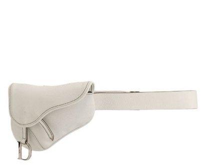 Christian Dior White saddle belt bag