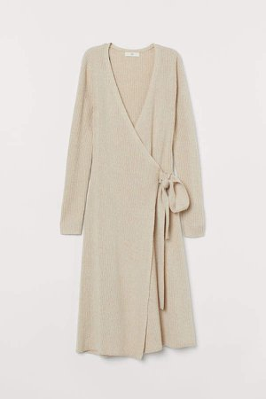 Rib-knit Wrap Dress - Beige