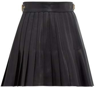 Pleated Leather Mini Skirt - Womens - Black