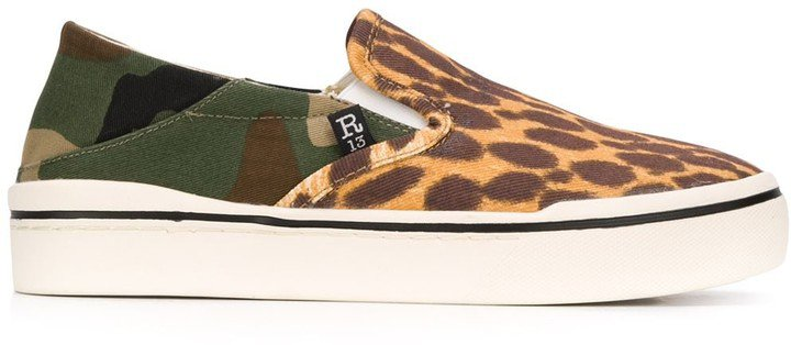 Multi-Print Slip-On Canvas Trainers