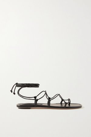 Black Knotted leather sandals | Porte & Paire | NET-A-PORTER