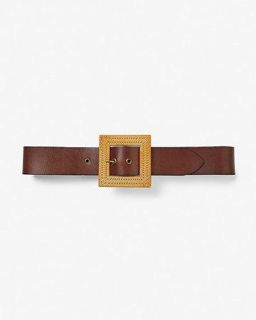 Square Raffia Buckle Genuine Leather Belt