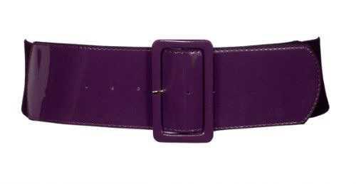 eVogues Women's Wide Patent Leather Fashion Belt Purple