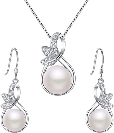 Cultured Pearl Leaf Necklace Hook Earrings Set