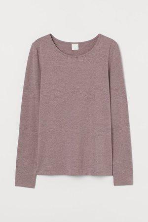 Long-sleeved Jersey Top - Brown