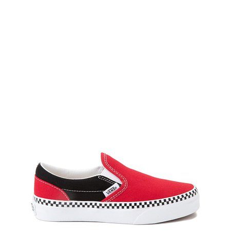Vans Slip On Checkerboard Skate Shoe - Little Kid - Red / Black | Journeys