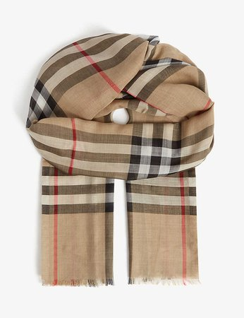 BURBERRY - Giant checked wool-silk scarf | Selfridges.com