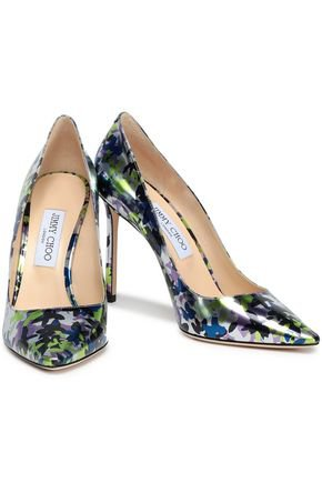 Floral-print metallic leather pumps | JIMMY CHOO | Sale up to 70% off | THE OUTNET