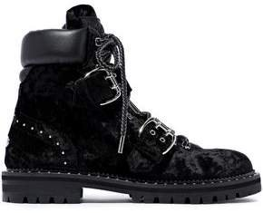 Buckled Leather-paneled Studded Velvet Combat Boots