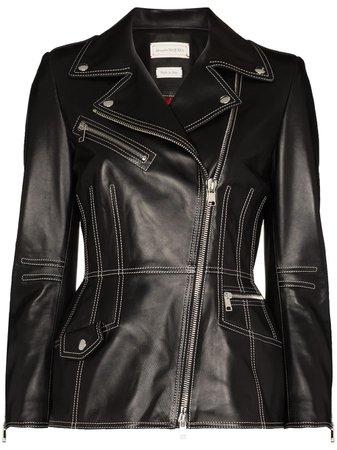 Alexander McQueen Contrast Stitching Lambskin Biker Jacket - Farfetch