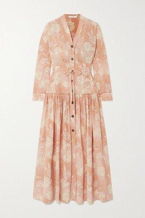 Floral-print Silk Crepe De Chine Maxi Dress - Pink