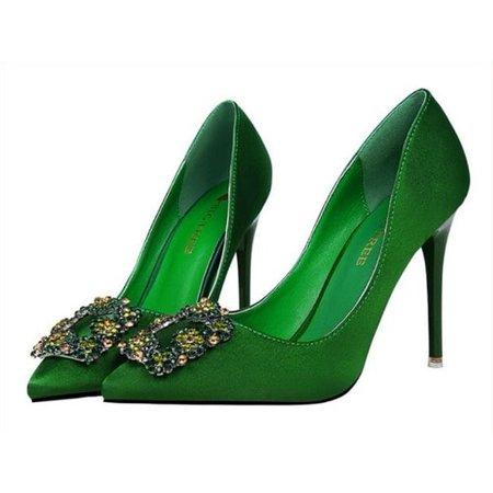 Big Tree Women's Rhinestone Adorn High Heel Shoes - Green | Konga Online Shopping