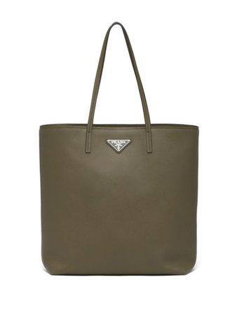 Shop green Prada Saffiano leather tote bag with Express Delivery - Farfetch