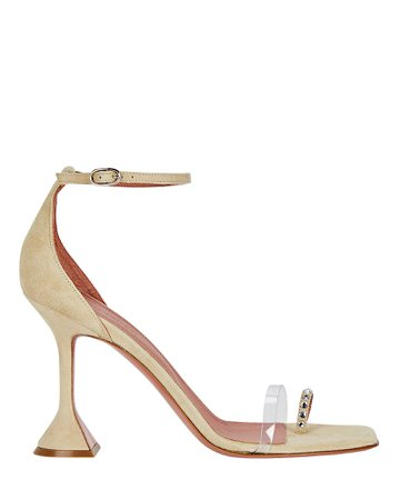 Amina Muaddi Oya PVC-Trimmed Suede Sandals | INTERMIX®