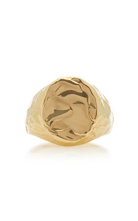 Fie Isolde Violet 14K Yellow-Gold Signet Ring Size: 5.5