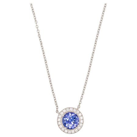 Tiffany and Co. Soleste Diamond Tanzanite Pendant Necklace For Sale at 1stdibs