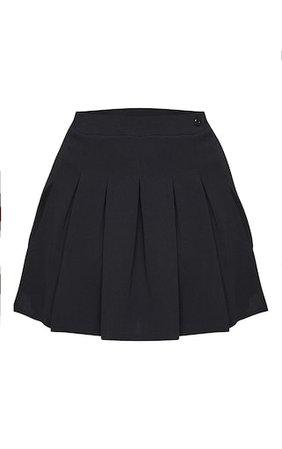Plus Black Pleated Side Split Tennis Skirt   PrettyLittleThing USA