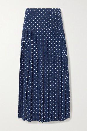 Pleated Polka-dot Silk Midi Skirt - Navy