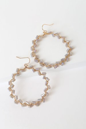 Gold Beaded Hoops - Zig-Zag Hoop Earrings - Beaded Hoops - Lulus