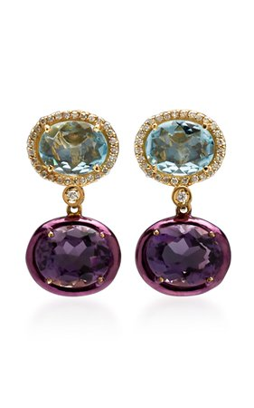 Carol Kauffmann 18K Gold, Topaz, Amethyst and Diamond Earrings