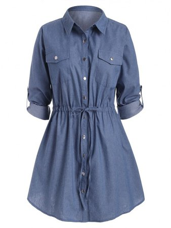 [44% OFF] 2020 Plus Size Roll Sleeve Chambray Snap Button Shirt Dress In BLUE   ZAFUL