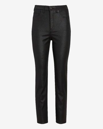 Super High Waisted Black Coated Slim Jeans