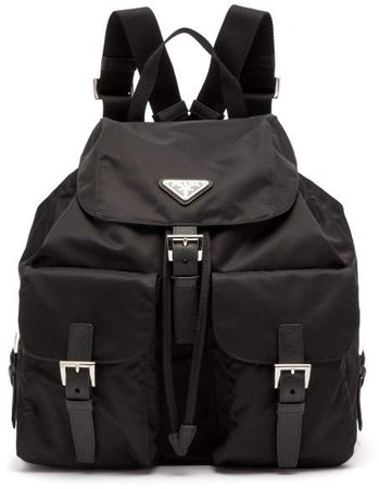 Classic Leather Trimmed Nylon Backpack - Womens - Black