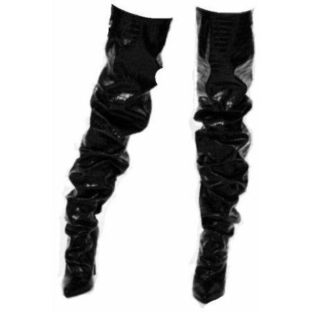 latex thigh high boots