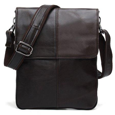 BAIGIO Small Leather Messenger Bag