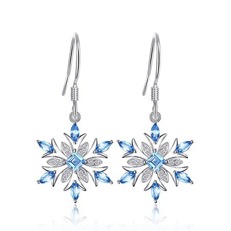 Amazon.com: JewelryPalace Snowflake 1.4ct Genuine Swiss Blue Topaz Dangle Earrings 925 Sterling Silver: Jewelry