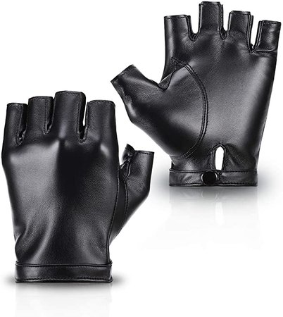 Amazon.com: Accmor Fingerless PU Faux Leather Gloves, Outdoor Sport Half Finger Glove for Men Women Teens: Clothing