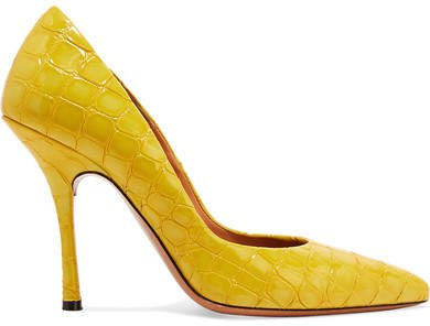 Croc-effect Patent-leather Pumps - Yellow
